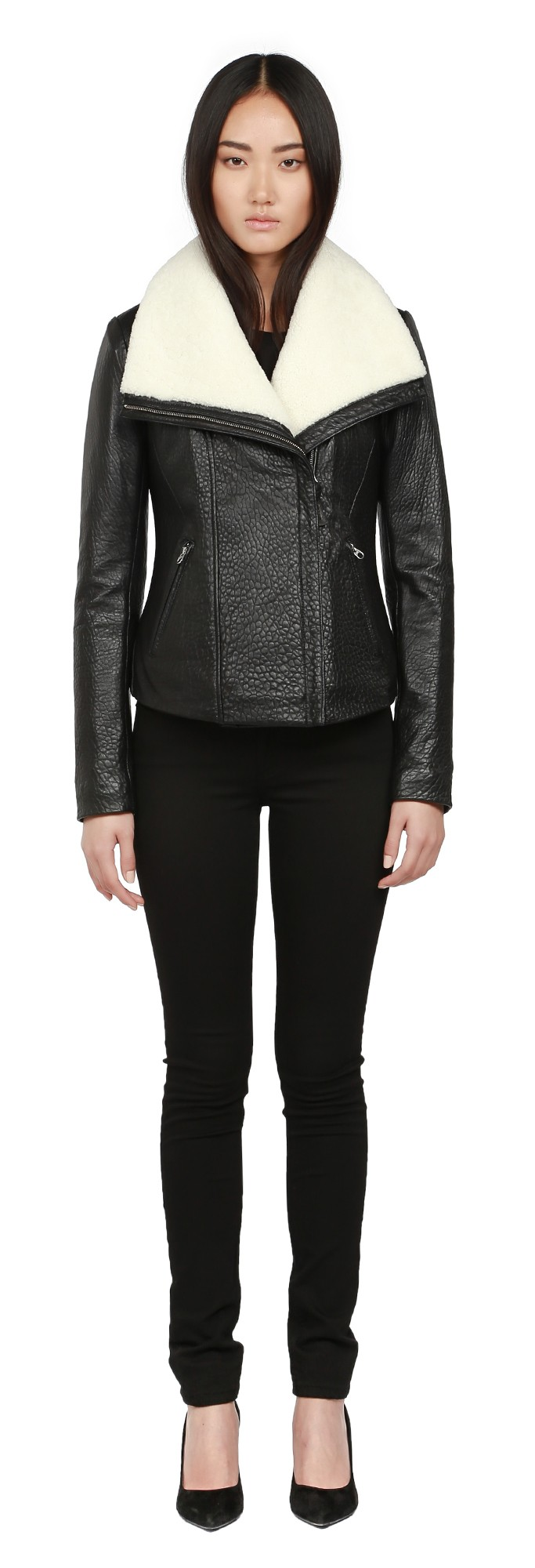 Black Pebble Leather Moto Jacket Mackage Women