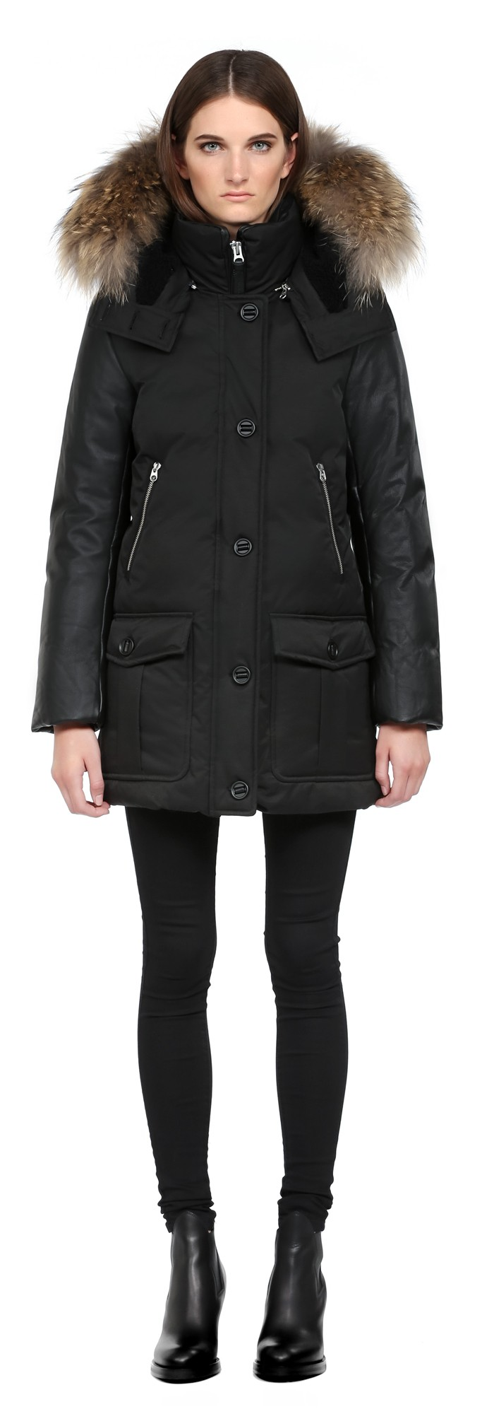 Black Lux Down Parka With Leather Sleeves Mackage Women