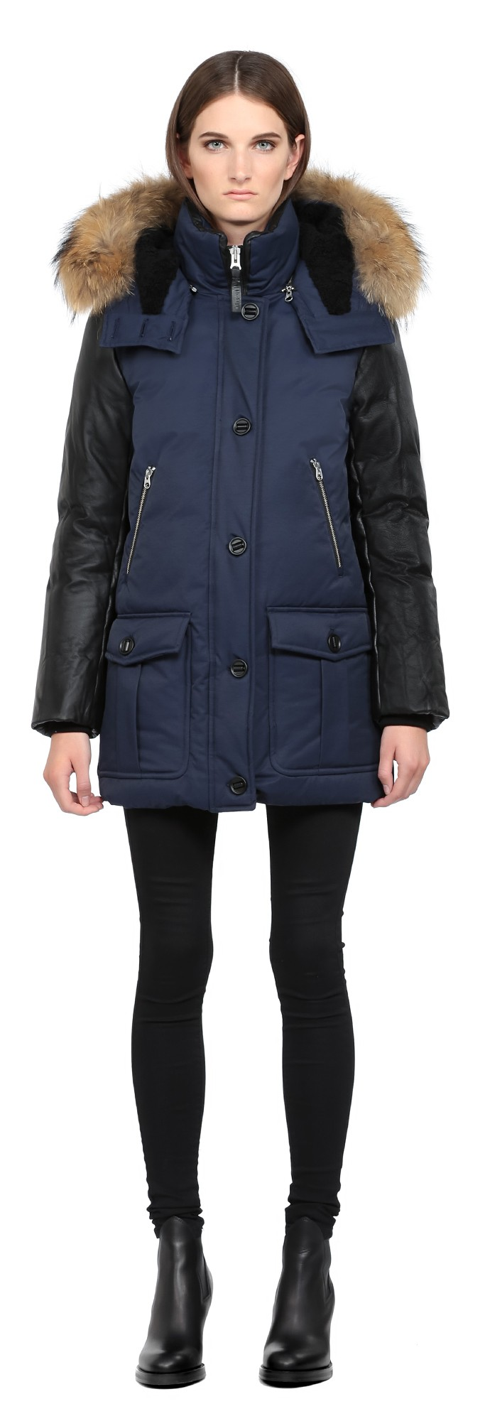 Navy Lux Down Parka With Leather Sleeves Mackage Women
