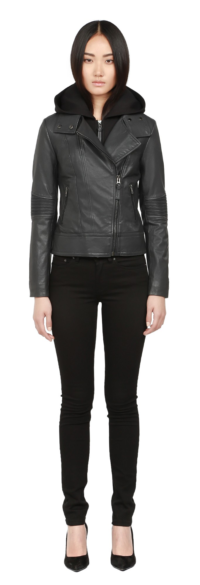 Charcoal Washed Leather Moto Jacket With Hood Mackage Women