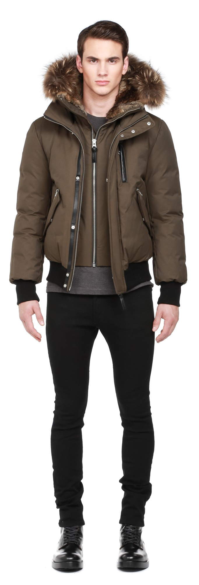 Dixon F5 Army Luxe Down Bomber With Fur Hood Mackage Men