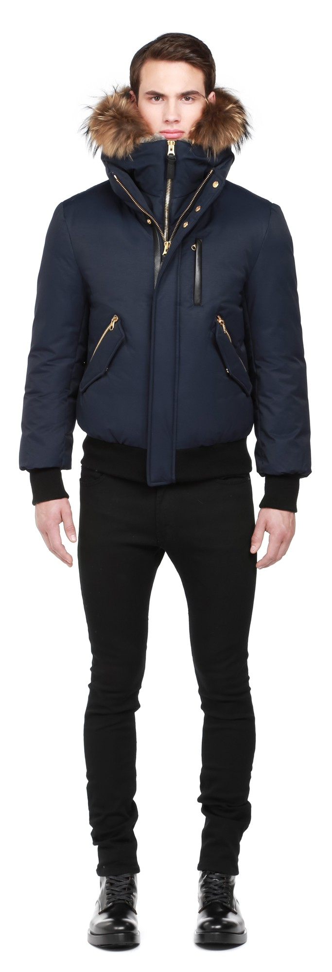 Navy Lux Down Bomber With Fur Hood Mackage Men