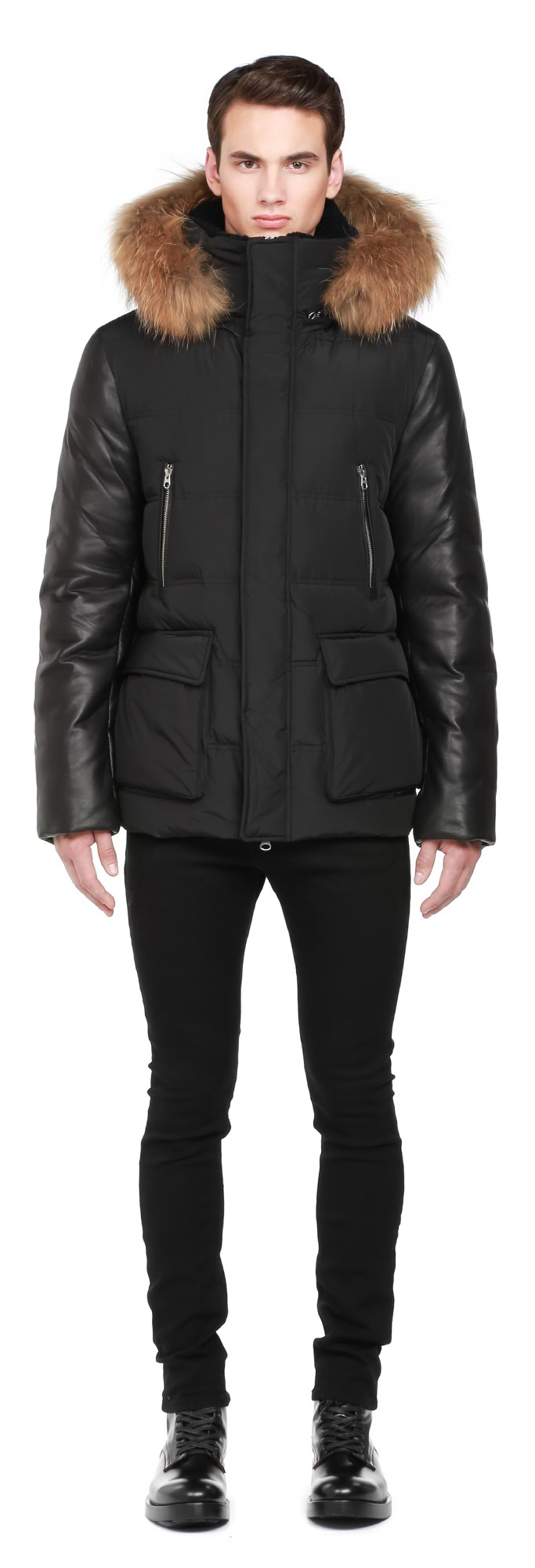 Black Down Coat With Leather Sleeves Mackage Men