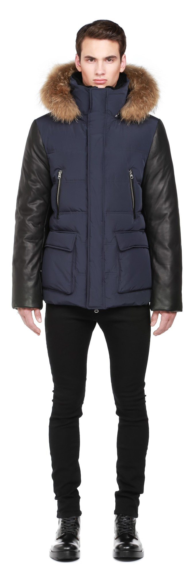 Ink Down Coat With Leather Sleeves Mackage Men