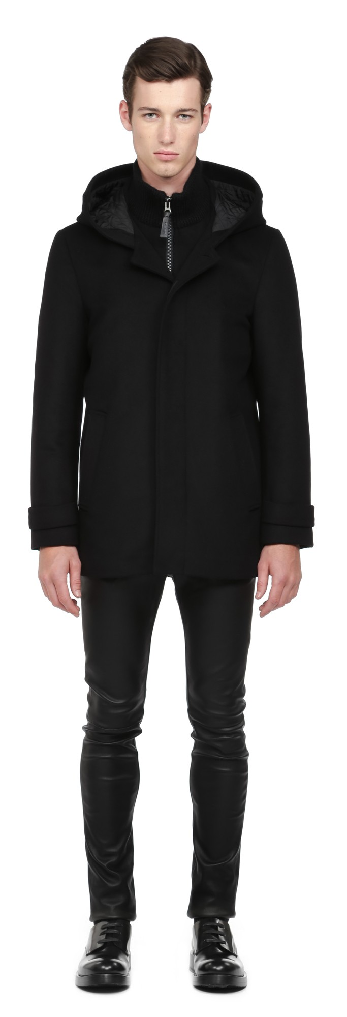 Black Flat Wool Coat Mackage Men