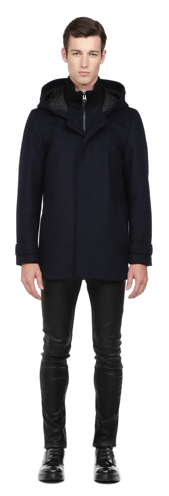 Navy Flat Wool Coat Mackage Men
