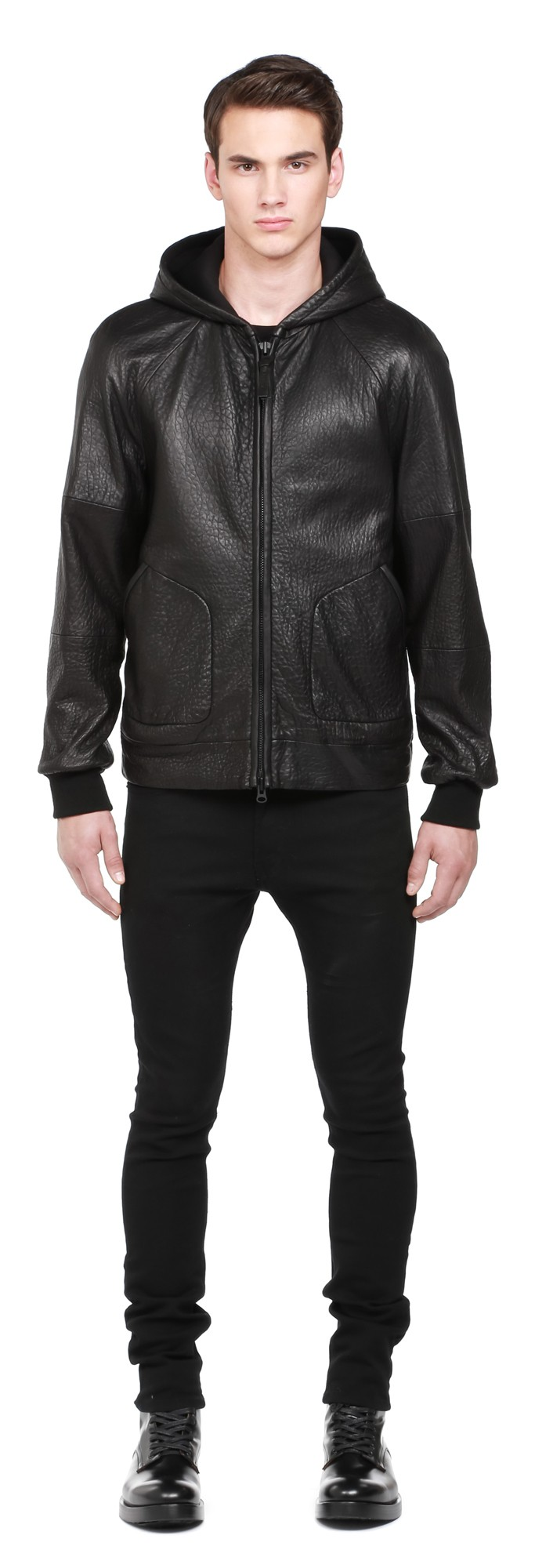 Black Pebble Leather Jacket With Hood Mackage Men