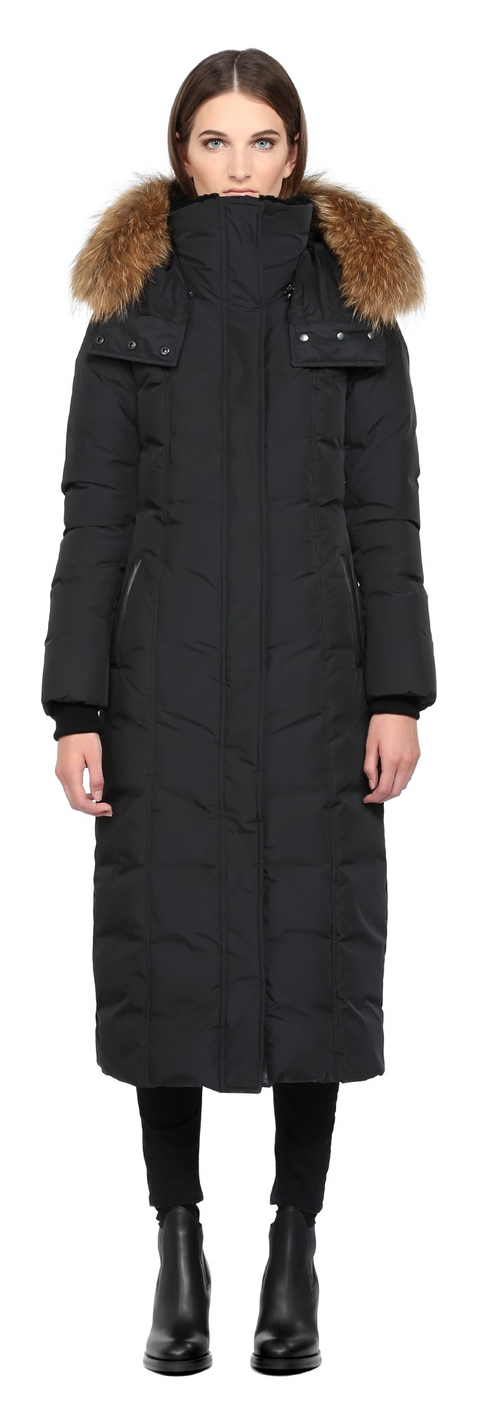 Black Long Down Coat With Fur Hood Mackage Women
