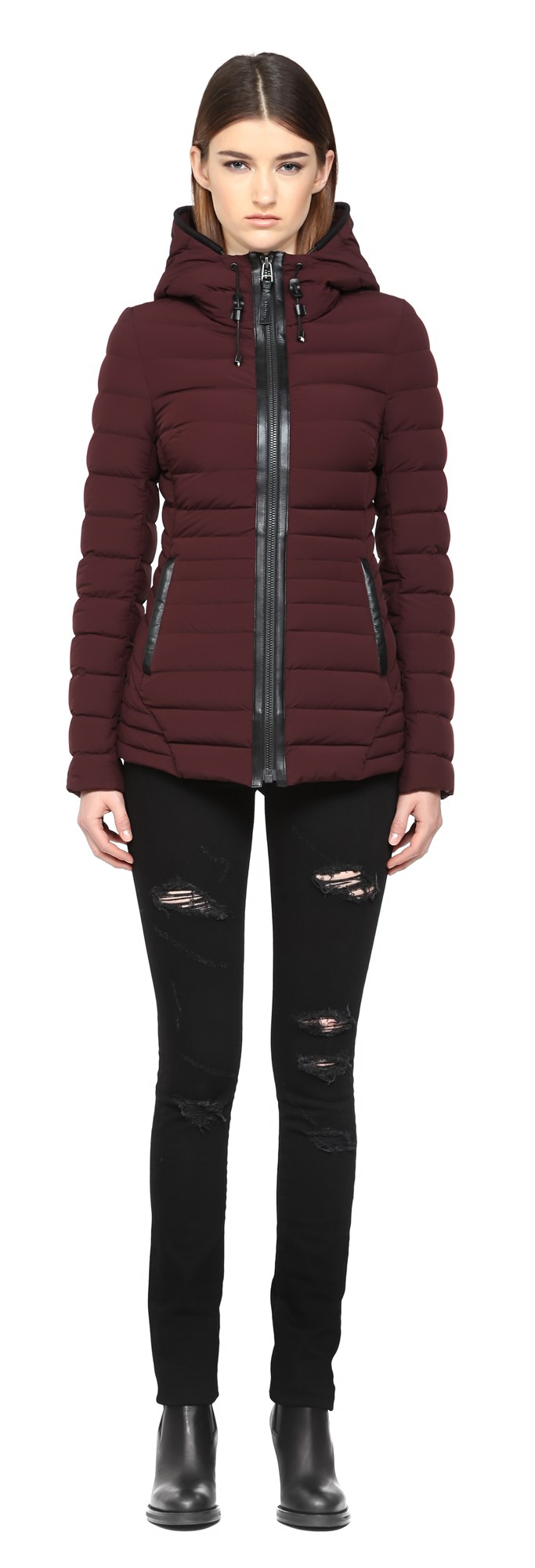 Bordeaux Lux Light Weight Down Coat With Hood Mackage Women