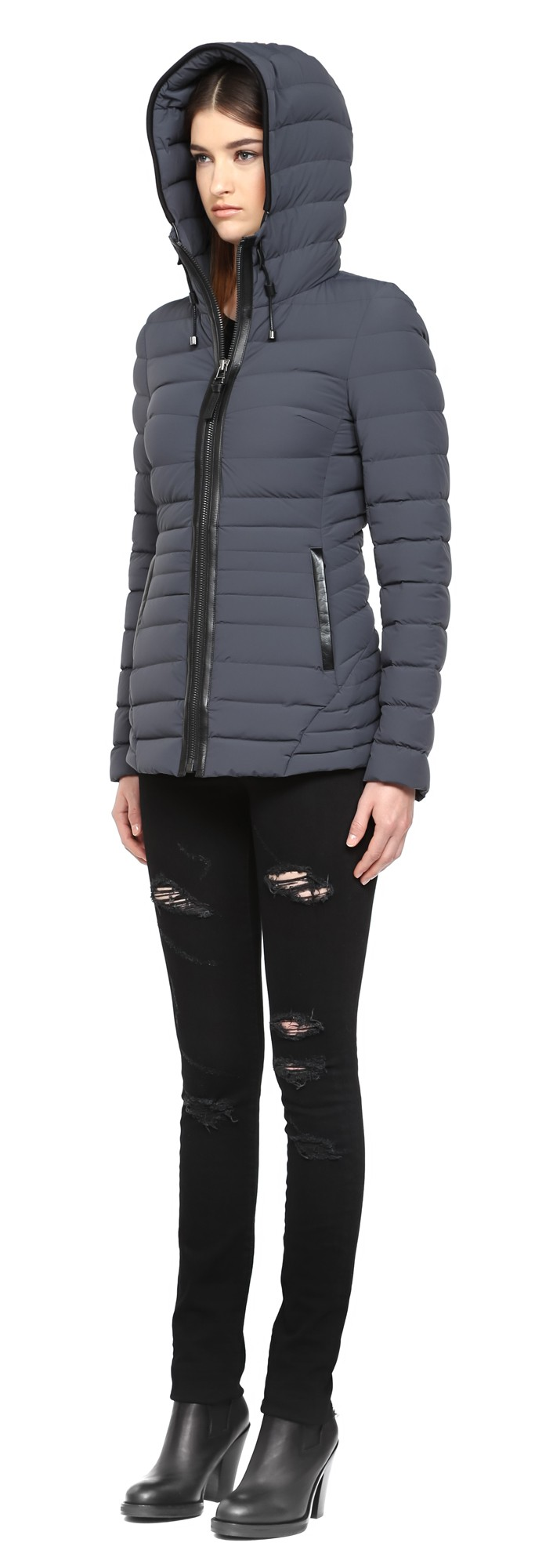 Charcoal Lux Light Weight Down Coat With Hood Mackage Women
