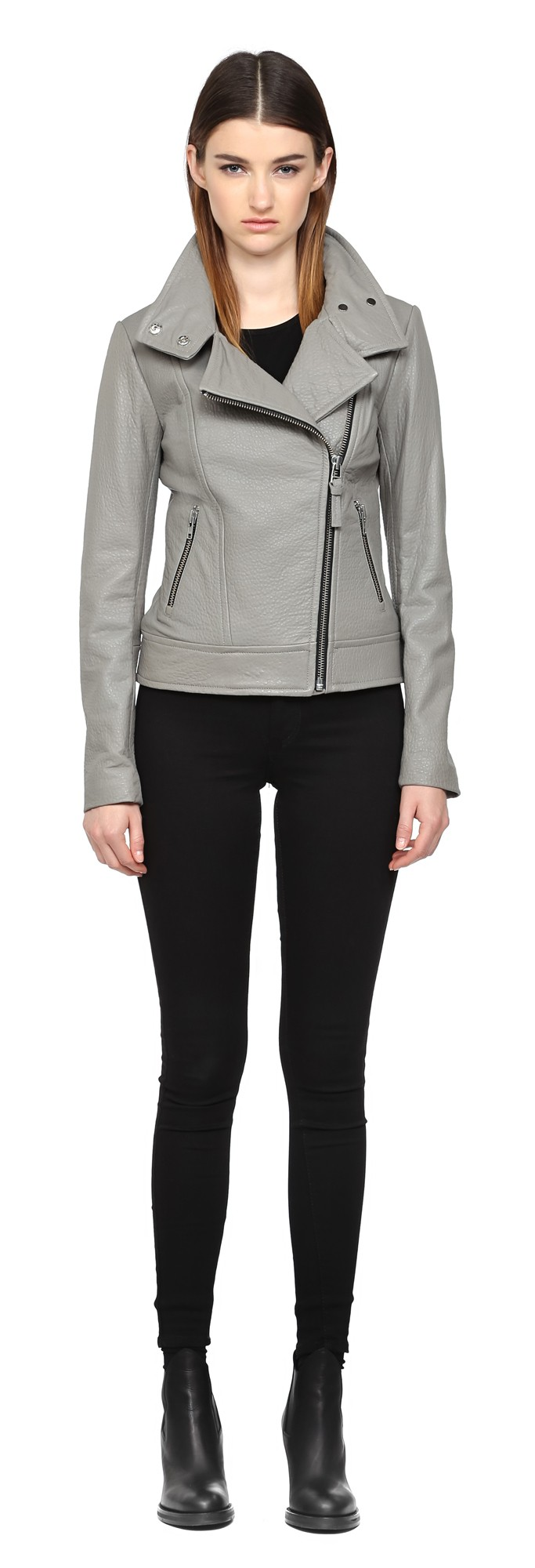 Ash Pebble Leather Jacket Mackage Women