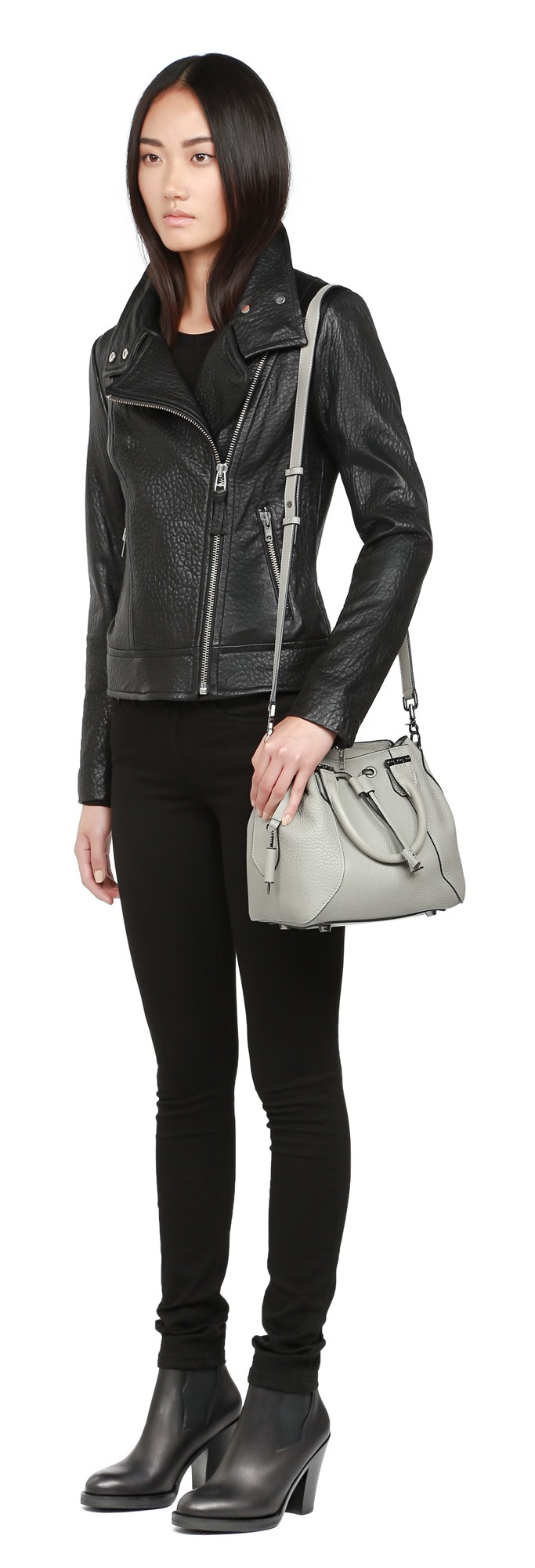 Noir Pebble Leather Jacket Mackage Women