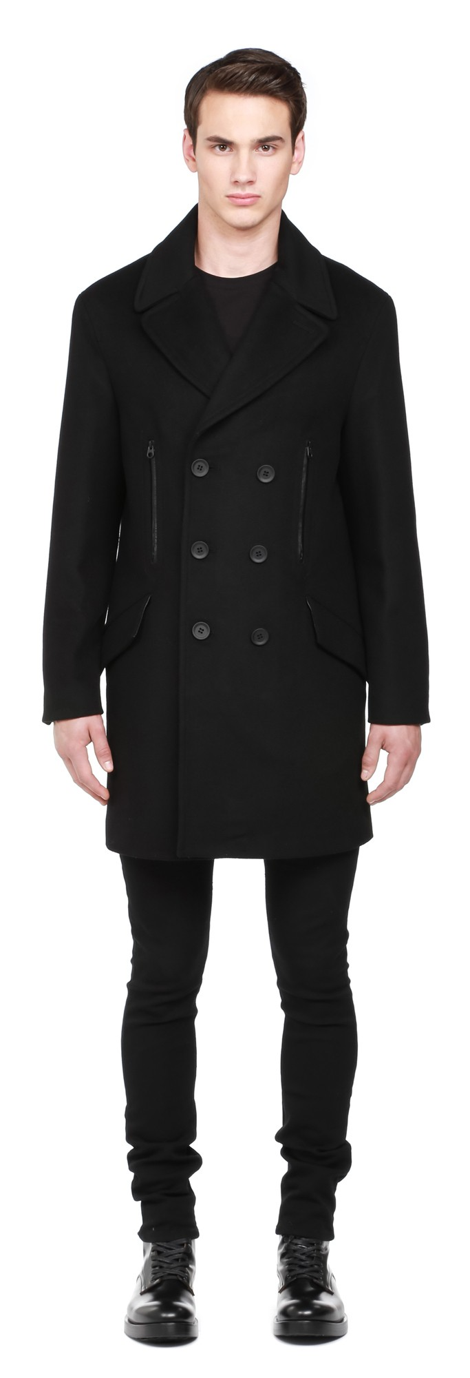 Black Flat Wool Coat With Leather Trims Mackage Men