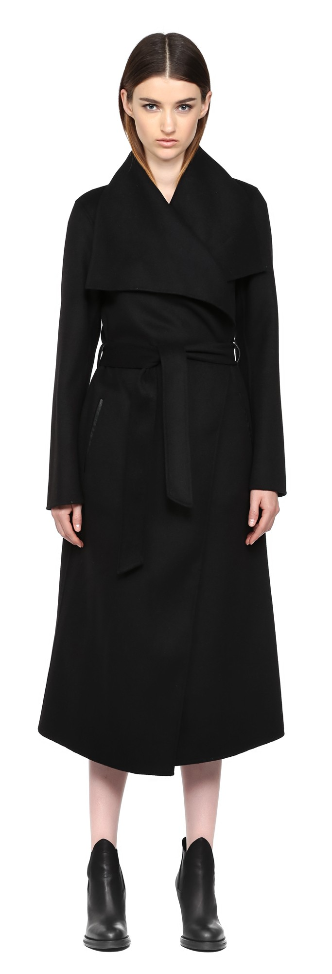 Black Long Doubleface Wool Coat Mackage Women