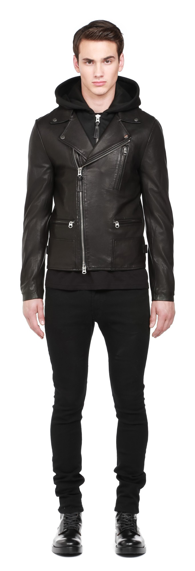 Black Light Wash Leather Jacket With Hood Mackage Men