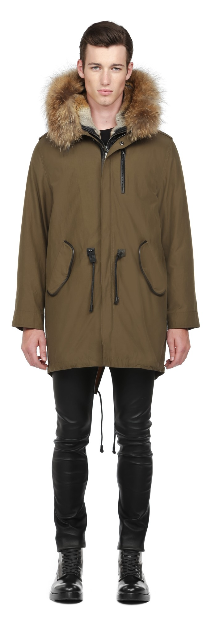 Army Waxed Cotton Parka Lined With Fur Mackage Men