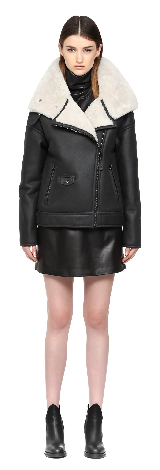 Black Shearling Coat Aviator Style Mackage Women