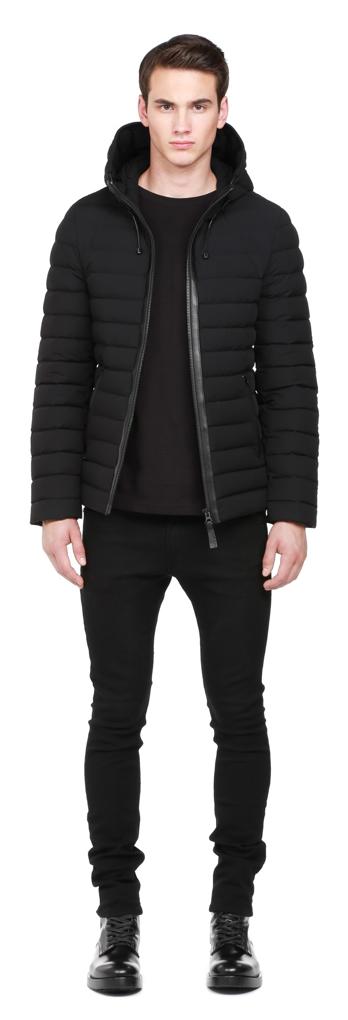 Black Lux Light Weight Down Coat With Hood Mackage Men