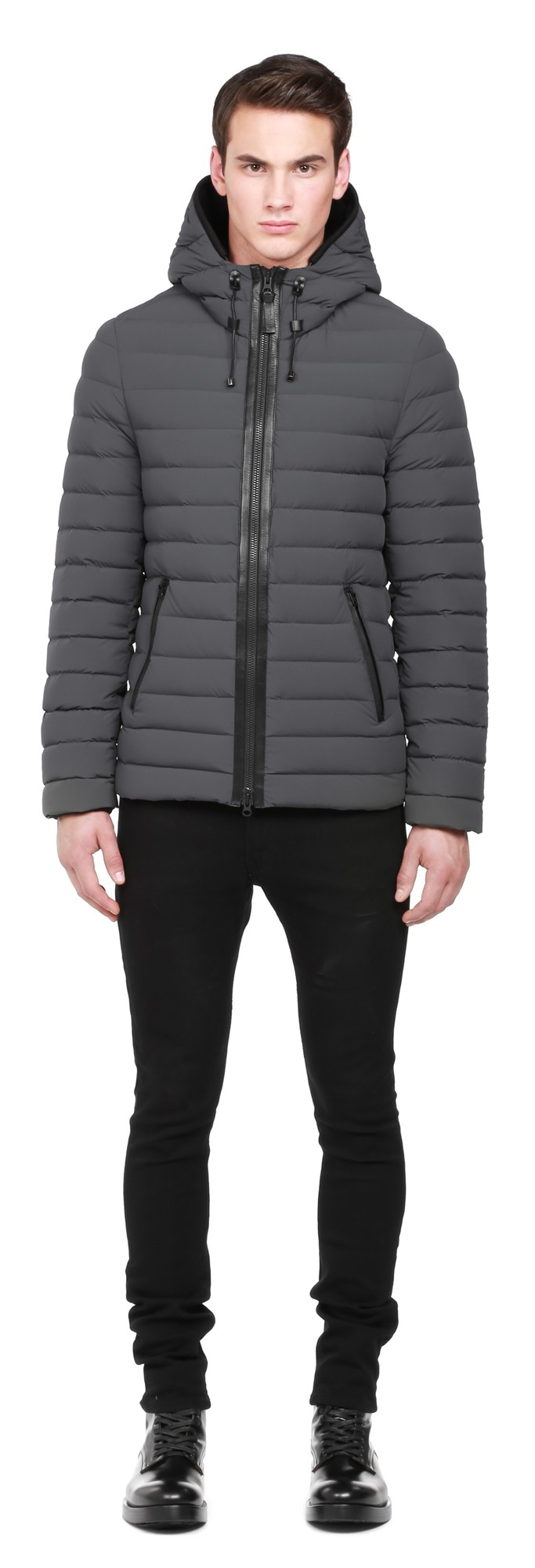 Charcoal Lux Light Weight Down Coat With Hood Mackage Men