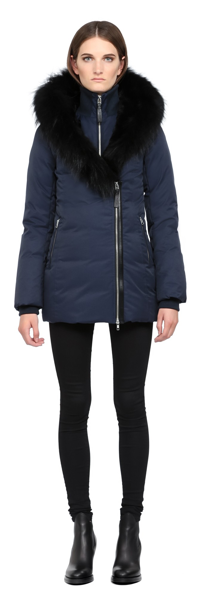 Navy Lux Down Coat With Fur Hood Mackage Women
