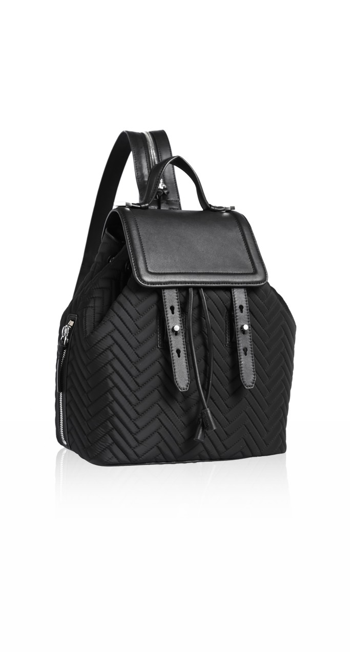 Quilted Black And Leather Backpack | Mackage Handbags