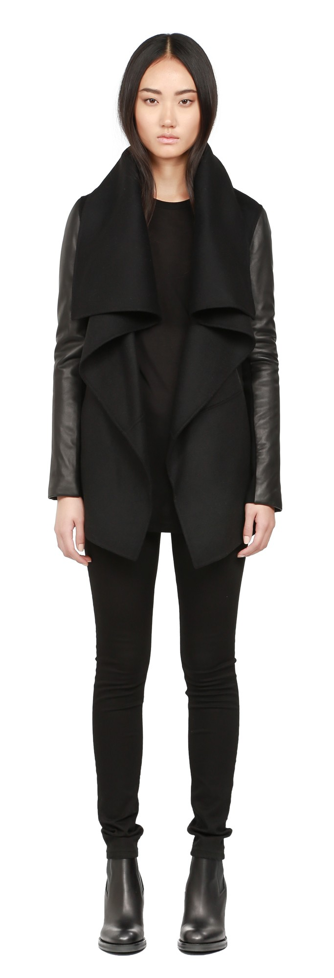 Black Double Face Wool Coat With Leather Sleeves Mackage Women
