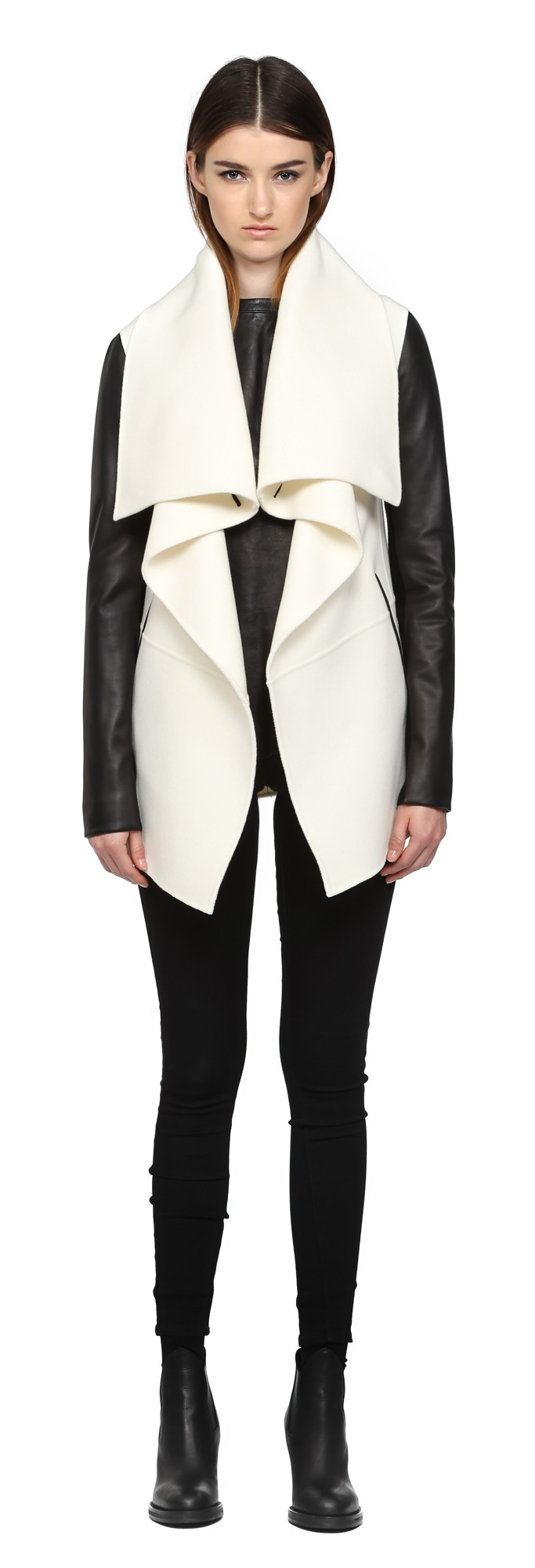 Off White Double Face Wool Coat With Leather Mackage Women