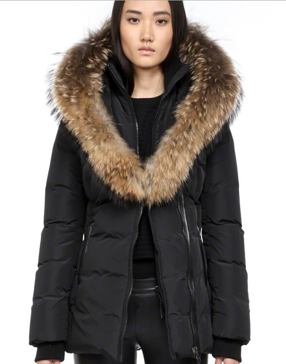 Adali Fitted Down Coat With Fur Hood Mackage Women