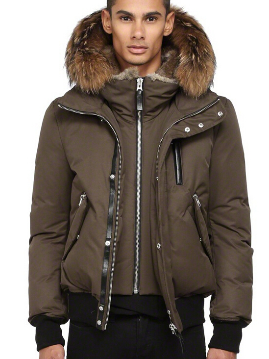 Dixon Down Bomber Jacket With Fur Hood Mackage Men