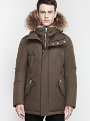 Edward Down Coat With Fur Hood And Leather Details Mackage Men