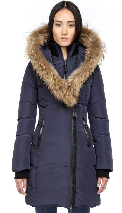 Kay Long Down Coat With Fur Hood Mackage Women